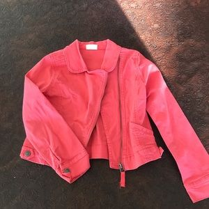 girls pink / coral jean jacket with front zipper